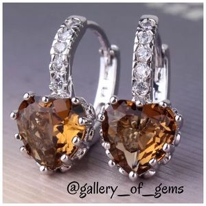 Tanzanite Heart 18K White Gold Huggie Earrings!